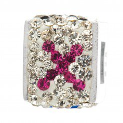 """Personality jewelry collection Red+Blue+White Crystal Inital """"X"""" Cube Bead"""