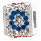 "personality jewelry collection Red,Blue and White Crystal Initial ""O"" Cube Bead"