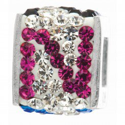"""Personality jewelry collection Red+Blue+White Crystal Inital """"N"""" Cube Bead"""