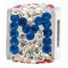 "Personality jewelry collection Red+Blue+White Crystal Inital ""M"" Cube Bead"