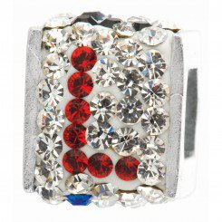 "Personality jewelry collection Red+Blue+White Crystal Inital ""L"" Cube Bead"