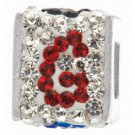 "Personality jewelry collection Red+Blue+White Crystal Inital ""G"" Cube Bead"