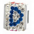 "Personality jewelry collection Red+Blue+White Crystal Inital ""D"" Cube Bead"