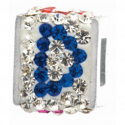 """Personality jewelry collection Red+Blue+White Crystal Inital """"D"""" Cube Bead"""