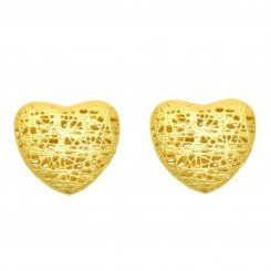 Stil Novo 14K Yellow Gold tube heart shaped stud earrings