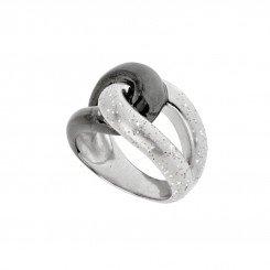 Stardust  Silver Rhodium Finish Dust Black Enamel Loop Ring