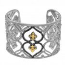 Phillip Gavriel 18kt Yellow Gold+Silver Soft Edged Fleur De Lis Cuff Bangle with Black Diamond