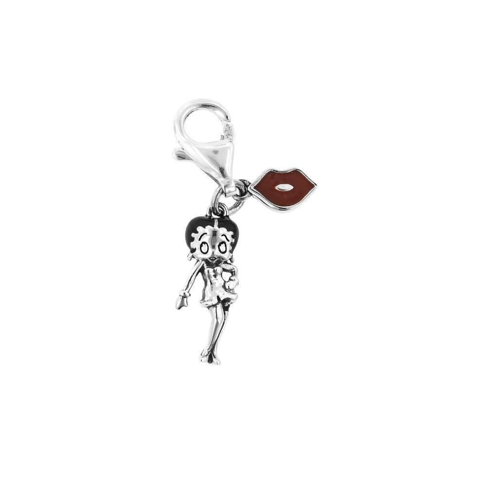 """Personality Jewelry Collection Silver&Red Enamel """"Betty Boop"""" Sexy Lady Charm Sterling Silver"""