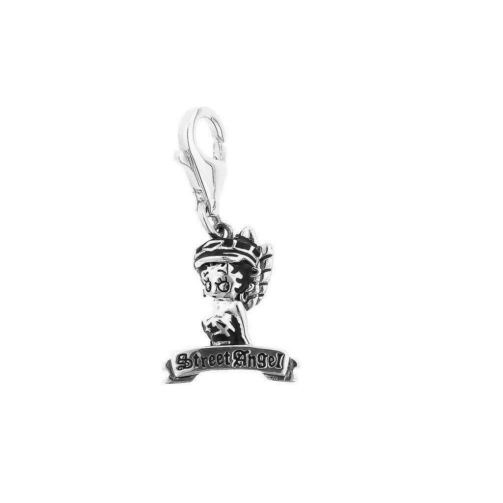 """Personality Jewelry Collection Silver Enamel """"Betty Boop"""" Street Angel Charm Sterling Silver"""