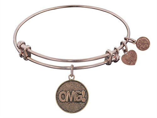 """Antique Pink Stipple Finish Brass """"oh My God"""" Angelica Expandable Bangle - Style No. PGEL1038"""