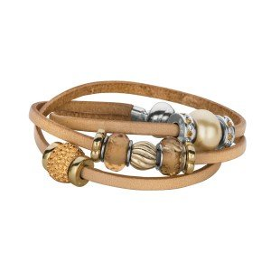 Personality jewelry collection Tan Italian Leather Wrap-Around Bracelet with magnetic screw off lock