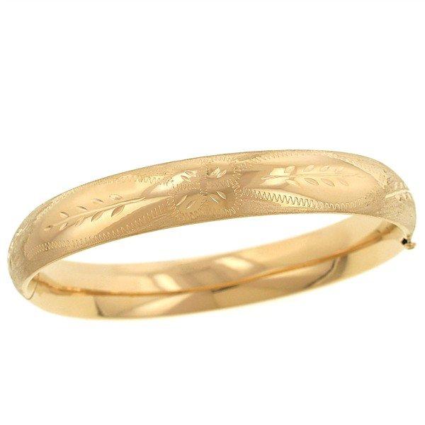 14k Gold bangle bracelet 10mm Flower Design Polished and Brushed Bangle Bracelet 12.10 Gram