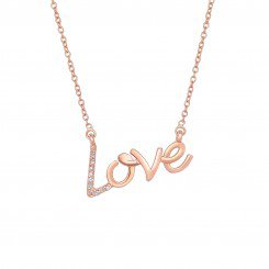 """14k Pink Gold and Diamond Shiny """"Love"""" Necklace with 0.07ct Diamond"""