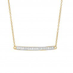 14k Yellow Gold Shiny Bar Necklace with 0.12ct.Diamond & Lobster Clasp