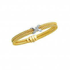 14K Yellow & White Gold Double Basket Weaved Bangle with 0.18 ct White Diamond