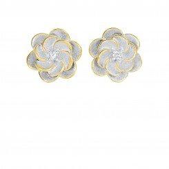 Two Tone Fancy Flower Post Earring