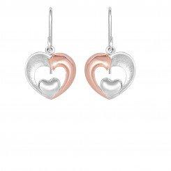 Small White Heart In Large Two Tone Open Heart Fancy Drop Earring