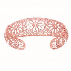 Textured Diamond Cut Graduated Cuff Bangle with Flower Pattern