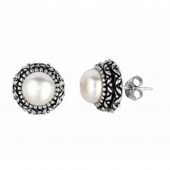 Silver with Rhodium Finish Oxodized Finish Shiny Round White Pearl Earring