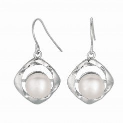 Silver with Rhodium Finish Shiny 8.8mm White Pearl Twisted Dangle Earring