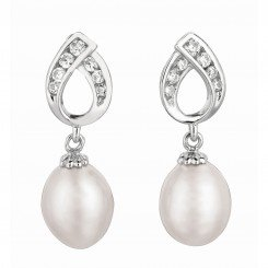 Silver with Rhodium Finish Shiny White Pearl Fancy Tear Drop Cubic Zirconic Earring