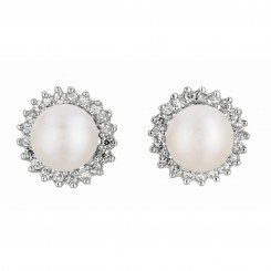Silver with Rhodium Finish Shiny White Pearl Sun Flower Cubic Zirconic Earring