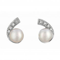 Silver with Rhodium Finish Shiny White Pearl Cubic Zirconic C Type Earring