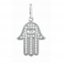 Silver with Rhodium Finish Shiny Hand of fatima hamsa Pendant with White Cubic Zirconia