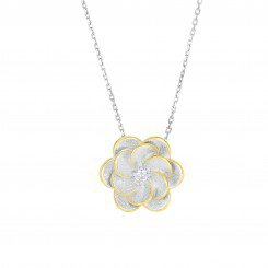 Silver with Rhodium & Yellow Finish matt & Shiny flower with CZ on diamond cut chain