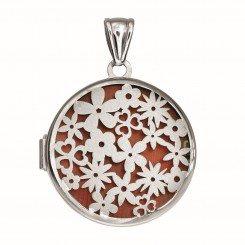 Silver Locket with Rhodium Finish 37mm Round with Satin Flower Pattern