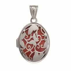 Silver Locket with Rhodium Finish Oval with Satin Flower & Butterfly Pattern with Red Interior