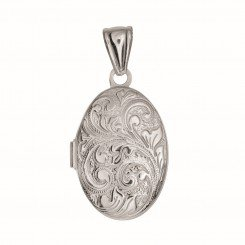 Silver Locket with Rhodium Finish 20x25mm Oval with Busy Vine Line Pattern