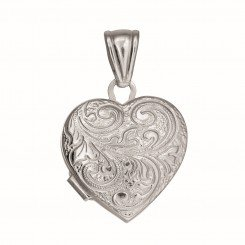 Silver Locket with Rhodium Finish 20mm Heart with Busy Vine Line Pattern