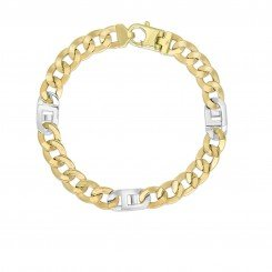 14k Yellow & White Gold 7mm Diamond Cut Shiny Curb-Mariner Link Fancy Bracelet with Lobster Clasp