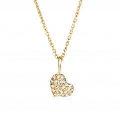 "14kt Yellow Gold and .10ct Diamonds Shiny small heart on 16"" cable link chain."