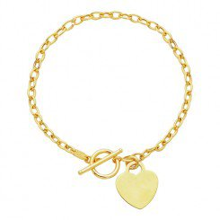 14kt Yellow Gold Oval Chain Link necklace with Heart & Toggle Lock.