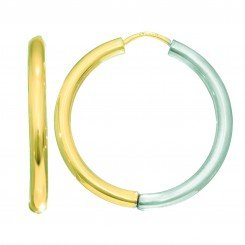 14kt Yellow & White Gold 2.5x20mm All Shiny Two Tone Round Hoop Earring