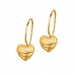 14K Yellow Gold Shiny Small Puff Heart Leverback  Earring