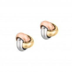 14kt tri color Yellow, White & Rose Gold Shiny One Row Love Knot Post Earring