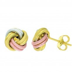 14KT TRI-COLOR Textured & SHINY LOVE KNOT EARRINGS