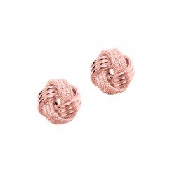 14kt Rose Gold Shiny & Textured 3 Row Love Knot Earring