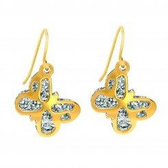 14K Yellow & White Gold Shiny Diamond Cut Two Tone Butterfly Drop Earring