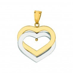 14K Yellow and white Gold 2 Open Heart Two Tone Pendant on yellow gold Shiny Box Chain