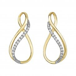 14K Yellow Gold & 0.10ct Diamond Earring
