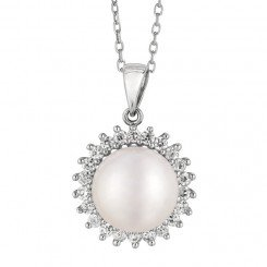 Sterling Silver Rhodium Finish White Pearl Sun Flower Fancy Pendant Cable Chain