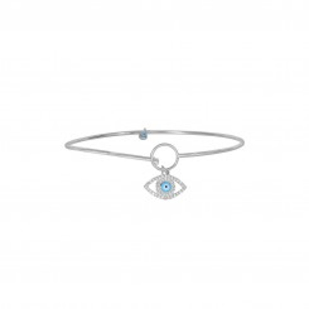 Sterling Silver with Rhodium Finish Evil Eye Bangle bracelet with Hook Style Clasp