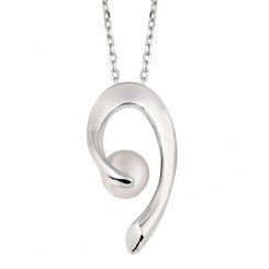 Sterling Silver Rhodium Finish White Pearl Fancy Curve Cubic Zirconia Pendant on Cable Chain