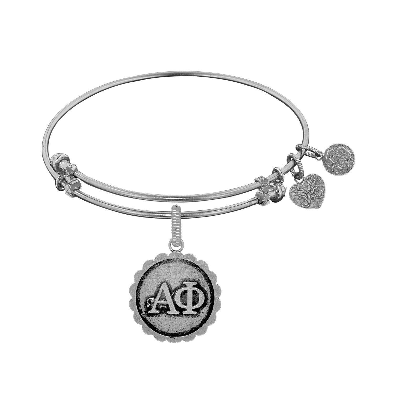 Angelica jewelry Collection Alpha Phi bracelet Brass with White Finish