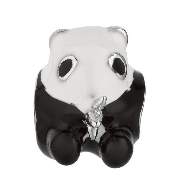 Personality beads jewelry collection BLACK & WHITE ENAMEL SILVER POLISH PANDA BEAD