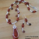 Handmade Jewelry Red Creek Jasper Pendant Necklace Set